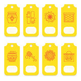 Set of tags for beekeeping, honey, apiary. Stock Photos