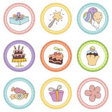 Set of tags with birthday theme. Cupcake toppers for Birthday. Set with birthday cake, balloons, gift and festive attributes Stock Photo
