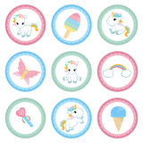 Set of tags with birthday theme. Cupcake toppers for Birthday. Set with unicorn and magic elements Royalty Free Stock Photography