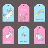 Set of tags with cute unicorns. vector illustration
