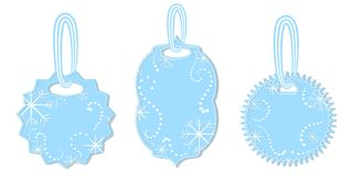 Set of Tags Decorated with Snowflakes and Chaplets royalty free illustration