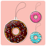 Set of tags with donut. Stock Images