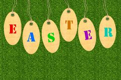 Set of tags for Easter eggs over green grass Royalty Free Stock Image