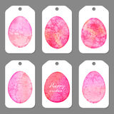 Set of tags for Easter. Watercolor silhouettes Royalty Free Stock Images