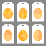 Set of tags for Easter. Watercolor silhouettes Stock Photo