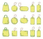 Set tags with floral pattern Royalty Free Stock Photos