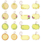 Set tags with floral pattern Stock Photos