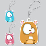 Set of tags with funny hamster. Royalty Free Stock Photo