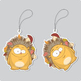Set of tags with funny hedgehog. Royalty Free Stock Photography