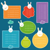 Set of tags with hand drawn easter bunny head and easter eggs. Stock Images