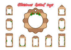 Set tags, labels in knitted style. Christmas or New Year tags in knitted style. For thematic sales or decoration shops Stock Photo