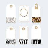 Set of tags, labels with trendy animals skin patterns,  Stock Photography