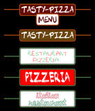 Set of tags for pizzerias Stock Photography