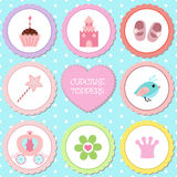 Set of tags with princess theme. Stock Photo