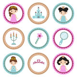 Set of tags with princess theme. Cupcake toppers for Birthday Royalty Free Stock Photos