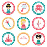 Set of tags with princess theme. Cupcake toppers for Birthday Stock Photos