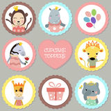 Set of tags with princess theme. Stock Photos