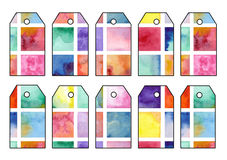Set of tags with retro watercolor squares Stock Images