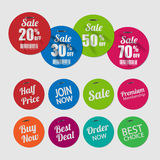 Set of tags for sale with staples. Royalty Free Stock Photos