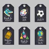 Set of tags with school supplies. Vector illustration Stock Photos