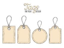 Set of tags. Tag collection vector illustration. Tags sketch hand drawing for your design Royalty Free Stock Photos