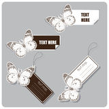 Set of tags and stickers with butterfly. Stock Photography