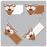 Set of tags and stickers with cartoon deer. Royalty Free Stock Images