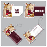 Set of tags and stickers with cartoon hamsters. Stock Photo