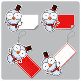 Set of tags and stickers with cartoon snowman. Royalty Free Stock Images