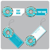 Set of tags and stickers with donut. Stock Photos