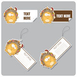 Set of tags and stickers with hedgehog. Stock Photos