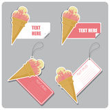 Set of tags and stickers with icecream cone. Royalty Free Stock Photography