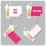 Set of tags and stickers with milkshake . Royalty Free Stock Photos