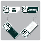 Set of tags and stickers with monster . Stock Photos