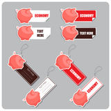 Set of tags and stickers with piggy bank. Stock Photos