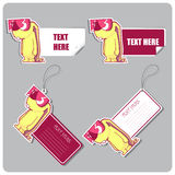 Set of tags and stickers with toy rabbit. Royalty Free Stock Photos