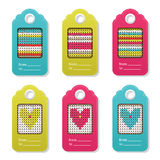 Set of tags in trendy color and knitted pattern. Stock Photo