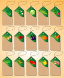 A Set of tags with various vegetables Stock Images