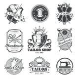 Set of tailor emblem, signage. Set of vintage tailor emblem and signage Stock Photos