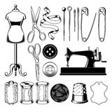 Set tailor icons isolated on white, design element Stock Photos