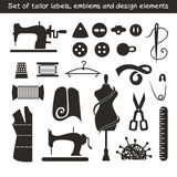Set of tailor labels, emblems and design elements Stock Images