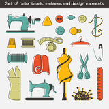 Set of tailor labels, emblems and design elements Royalty Free Stock Images