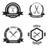 Set of tailor logo labels, emblems. Tailor shop theme. Tailor sh Stock Images