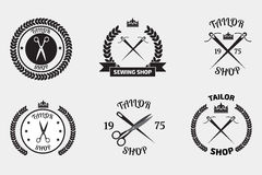 Set of tailor logo labels, emblems. Tailor shop theme. Tailor sh Stock Photo