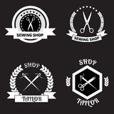 Set of tailor logo labels, emblems. Tailor shop theme. Tailor sh Royalty Free Stock Image