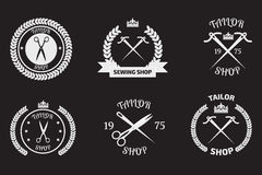 Set of tailor logo labels, emblems. Tailor shop theme. Tailor sh Royalty Free Stock Images