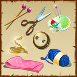 Set of tailor, seven items for sewing and knitting Royalty Free Stock Photography