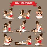 Set Tajlandzki masaż pozycj projekt dla healty royalty ilustracja