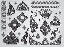 Set Tajlandzki sztuka element, Dekoracyjni motywy Etniczna sztuka, ikona Zdjęcie Royalty Free
