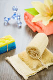Set for taking bath on wooden background Stock Images